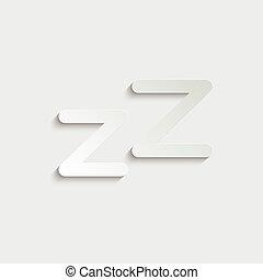 papel, icono, icon., zzz, sueño, vector