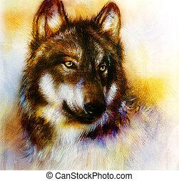 papel, illust, pintura, plano de fondo, color del lobo, ...