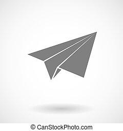 papel, ilustração, avião