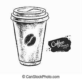 papel, ilustración, taza para café