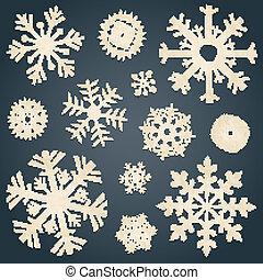 papel, jogo, antigas, snowflakes
