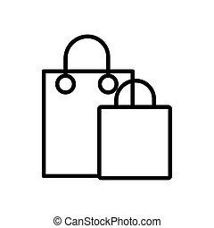 papel, línea, icono, bolso de compras, estilo