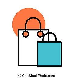 papel, línea, icono, relleno, bolso de compras, estilo