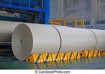 papel, línea, producción, rollo, kraft