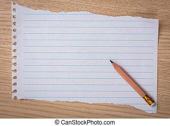 papel, livro, lápis madeira, branca, nota, escrivaninha