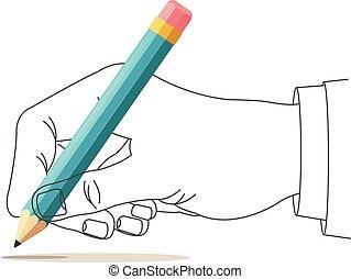 papel, mão, caneta, escrita