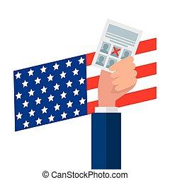papel, mão, desenho, vetorial, eua, segurando, voto
