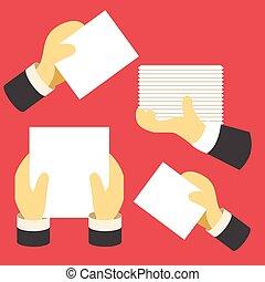 papel, mãos humanas