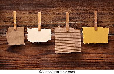 papel, madeira, grunge, cavilha, roupas, nota