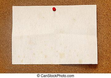 papel, manchado, viejo, noticeboard., corcho
