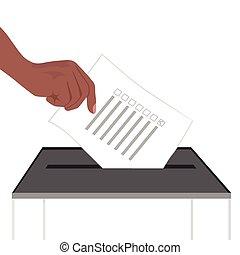 papel, mano, ilustración, poniendo, caja, papeleta
