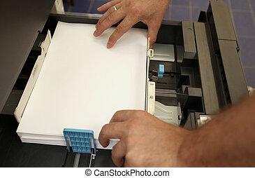 papel, mano, laser, a4, copiadora, hojassueltas, detalles