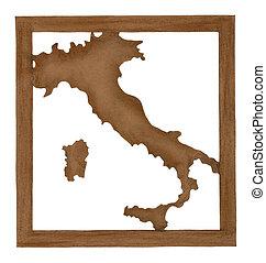 papel, mapa, corte, antigas, itália