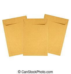 papel marrón, sobre, aislado, blanco