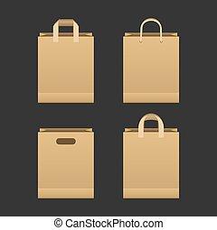 papel, marrom, jogo, saco shopping