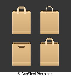 papel marrom, saco shopping, jogo