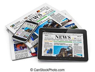 papel, medios, concepto, electrónico
