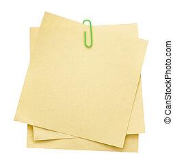 papel memorando, notas, clip