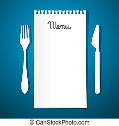 papel, menú restaurante, con, cuchillo y tenedor, en, fondo...