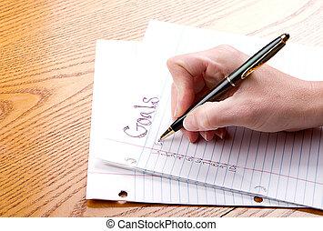 papel, metas, escrita