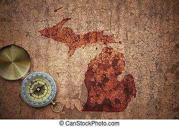papel, michigan, vendimia, viejo, grieta, mapa del estado