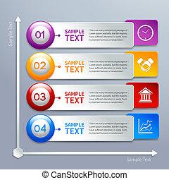 papel, modelo, infographics