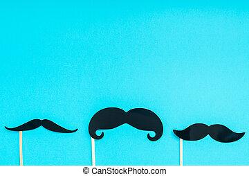 papel, moustaches, hombres, padres, concepto, papá