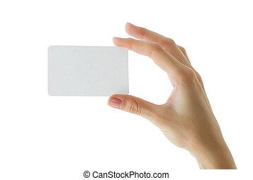 papel, mujer, mano de la tarjeta