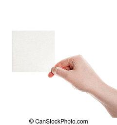 papel, mujer, tarjeta, mano