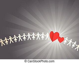 papel, multitud, con, corazones