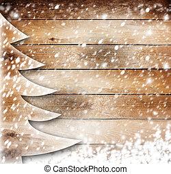 papel natal, árvore, ligado, a, neva-coberto, madeira, fundo