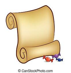 papel natal, scroll, cartão, com, candies., vetorial, ilustração, isolado, branco, experiência.