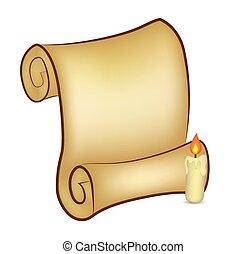 papel natal, scroll, cartão, com, candle., vetorial, ilustração, isolado, branco, experiência.