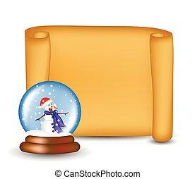 papel natal, scroll, cartão, com, snowglobe., vetorial, ilustração, isolado, branco, experiência.