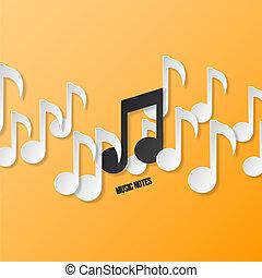 papel, notas música