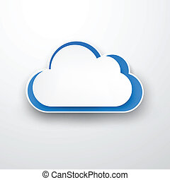 papel, nube, white., white-blue