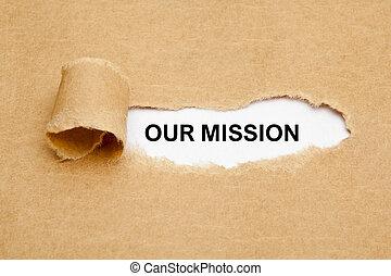 papel, nuestro, rasgado, concepto, misión