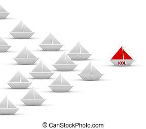 papel, origami, kol, branca, navio, isolado, frota