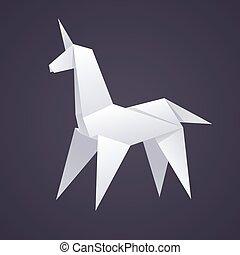 papel, origami, unicornio