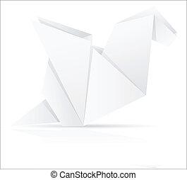 papel, origami, vetorial, ilustração, dragão