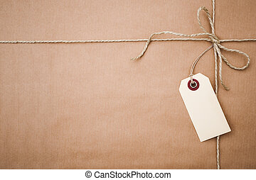 papel, paquete, marrón