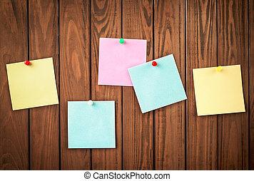papel, para, notas, ligado, a, madeira, fundo