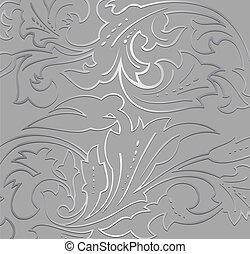 papel parede, prata, floral, experiência., vetorial