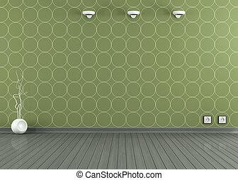 papel parede, verde, sala, vazio