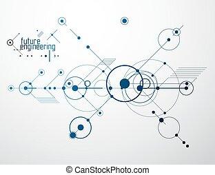 papel parede, vetorial, técnico, círculos, engenharia, desenho, abstratos, experiência., lines., tecnologia, feito