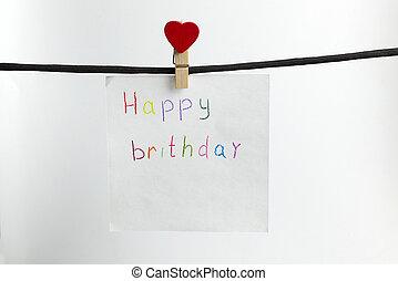 papel, pesa, ligado, a, pretas, corda, com, a, inscrição, feliz, birthday.