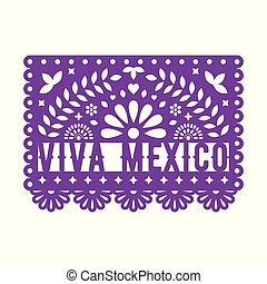 Papel Picado, Mexican paper decorations for party.