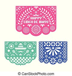 Papel Picado set, Mexican paper decorations for Cinco De Mayo.