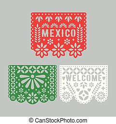 Papel Picado set, Mexican paper decorations for party.