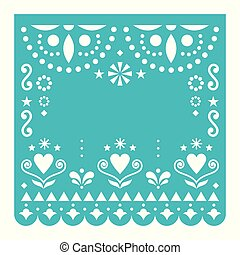 Papel Picado template with no text vector design, Mexican turquoise paper fiesta decoration from Mexico with flowers and geometric pattern